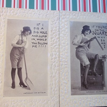 2 POSTCARDS,  SAME GIRL WITH OLD TOOLS,..SHOWS HER LEGS IN 1910