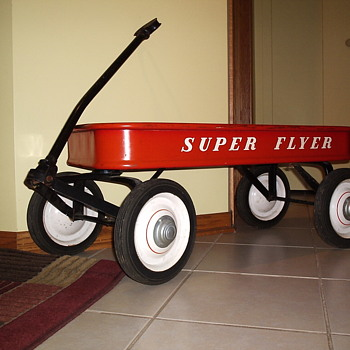 "1950's Original Unrestored ""Super Flyer"" Wagon - Toys"