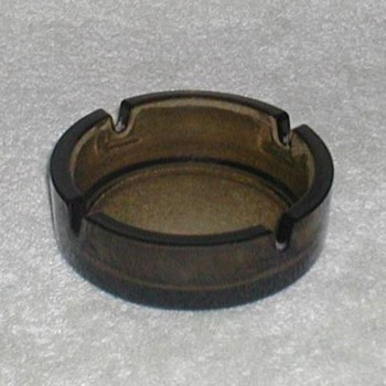 Smoke-Green Glass Ashtray