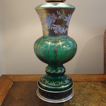 Painted Green Glass Table lamp