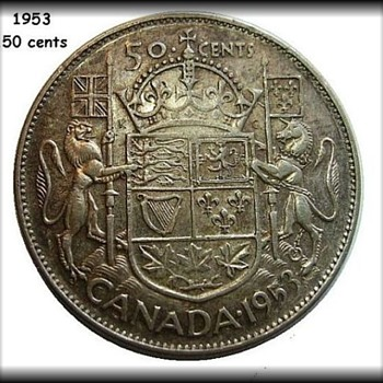 Canadian 1953 - .50 cent piece  - World Coins