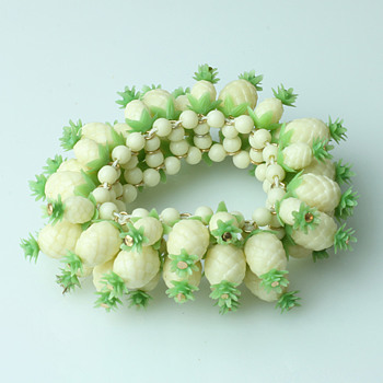 Celluloid pinapple and flower bracelets - Costume Jewelry