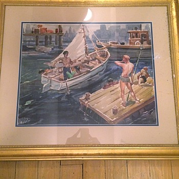 Original Watercolor Painting Sailing Bathers Homoerotic Signed - Visual Art