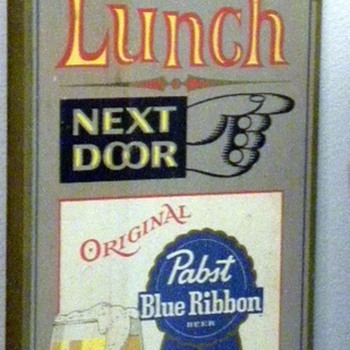 Free Lunch Next Door Pabst Blue Ribbon Beer Wood Sign - Breweriana