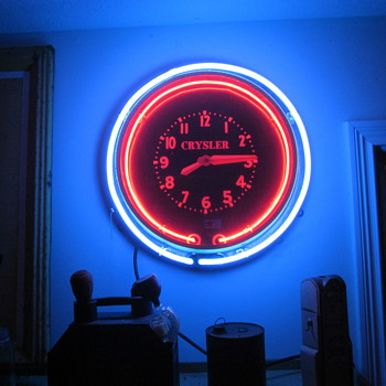 1940&#039;s Original Chrysler Dealership Double Neon Clock - Clocks