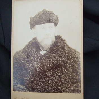 Cabinet card of man in Buffalo fur coat