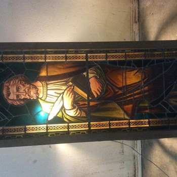 Religious leaded stained glass window