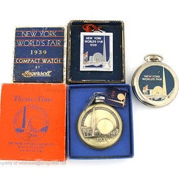 1939 New York Worlds Fair Watches by Ingersoll & New Haven - Advertising