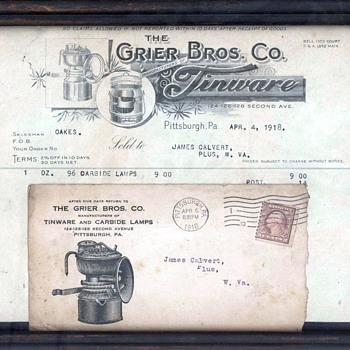 Grier Bros. Pittsburgh PA. Framed Invoice dated 1918