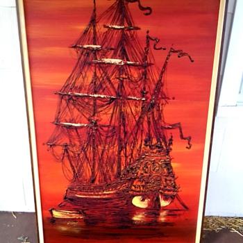 Large Vintage Ship painting