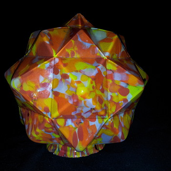 Czech Art Deco Spatter Glass Star Shade Globe  - Art Glass