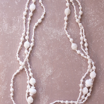 Trifari TM Three Strand White Plastic and Acrylic Beads Necklace
