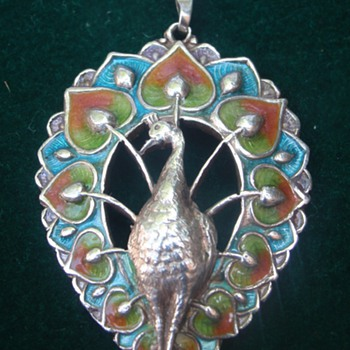 Arts & Crafts enamel peacock pendant - Arts and Crafts
