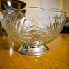 Large Glass Bowl with Grape & Leaf Pattern