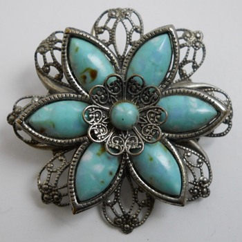 Flower Brooch with Turquoise Stone, 20 Century - Costume Jewelry