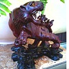 Chinese Tiger Sculpture /Carved Rosewood with Bone Teeth and Glass Eyes /Late 19th-Early 20th Century