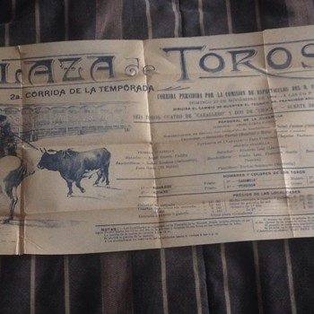 Antique 1904 Plaza Toros Bullfighting Poster/flyer