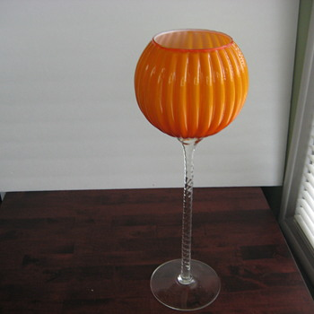 Ribbed and cased orange vase - Art Glass