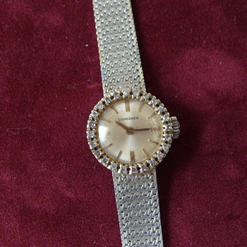 1960s 18k w/25diamons longines womens wtch - Wristwatches