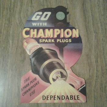 Champion Spark Plugs Die Cut Cardboard Litho Sign