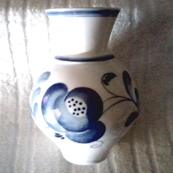 "Russian ""Gzhel "" Faience /Hand Painted Blue on White Vase / Circa 1950's 1960's  - Art Pottery"