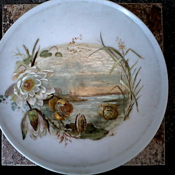 Large White Glass (Bristol ?) Charger or Flue Cover/Hand Painted Water Lily Design/ Unknown Maker/Circa Late 19th Century