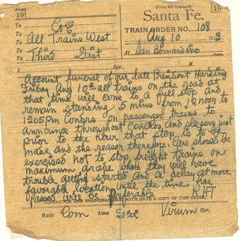 Santa Fe. Train Order Aug 10, 1923 at San Bernardino - Railroadiana