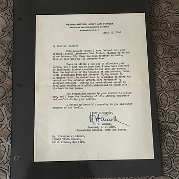 World War 2 Death Notification Document Signed By Gen H.H. Arnold - Military and Wartime
