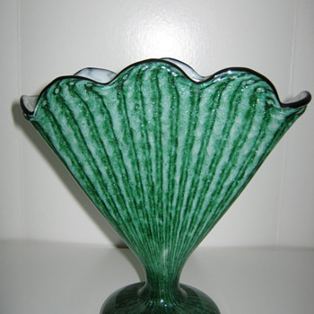 Czechoslovakia Art Glass for Export Green fan vase Decor is Stripes and Aventurine - Art Glass