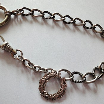 Niello Silver pocket watch chain