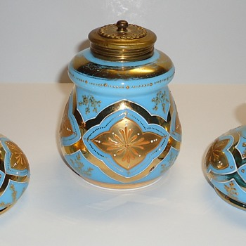 Bohemian? Vanity Set - Blue Opaline? with Gold Enamel
