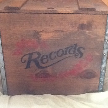 Wooden records box - Records