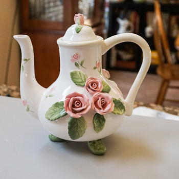 Tea Pot with Pink Roses - Art Pottery