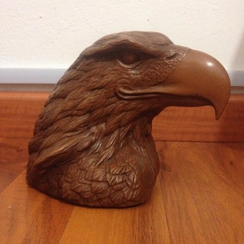 Golden eagle head sculpture