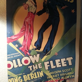 Original 1936 (cut to fit art print) Movie Window Card &quot;Follow the Fleet&quot;