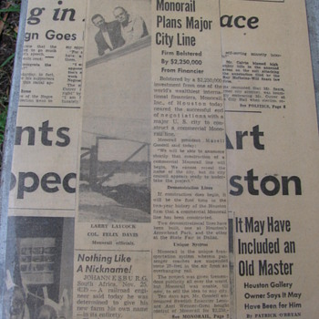 1957 Houston Press article and photograph about constructing a monorail system.