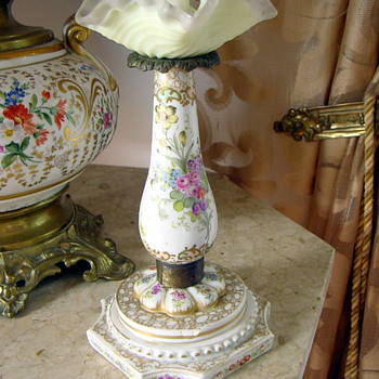 Antique German Meissen Candlestick Hand Embellished 1880's - Lamps