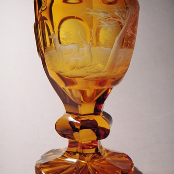 Antique Bohemian Goblet~Amber to Clear~Masterful Engraved Scene w/Deer - Art Glass