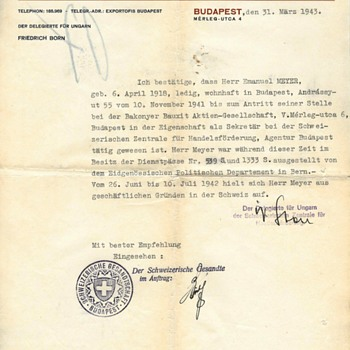 1943 Important Swiss protection-paper - Paper