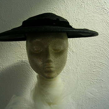 Evelyn Varon late 1940s summer wide brim hat - Hats