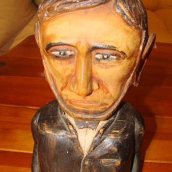 abraham lincoln wood sculpture W. M. Hole - Folk Art