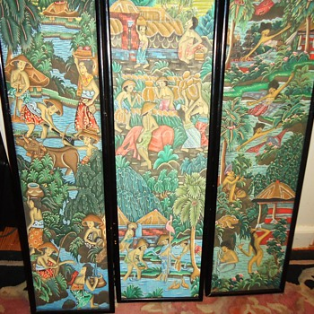 "Ubud Bali Painted wood panels, $2.50 each  31"" X 9"",  - Asian"