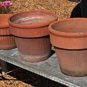 Large, Old Terracotta Flower Pots - Art Pottery