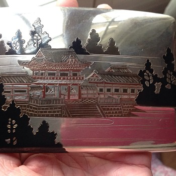 Antique/Vintage Japanese?Silver and Enamel Cigarette case in Original Box