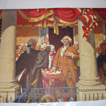 George Washington being sworn in print - Posters and Prints