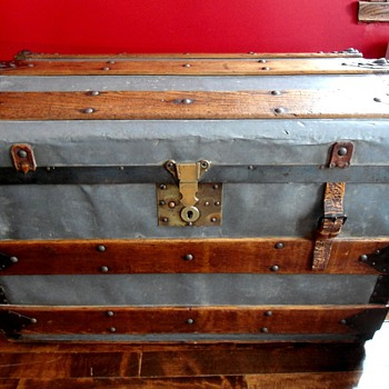 Antique Zinc Trunk Rare