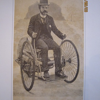 1891 The Petroleum Motor Tricycle Print Picture - Posters and Prints