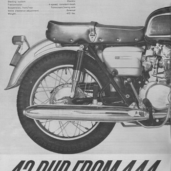 1965 - Honda CB450 Motorcycle Advertisement - Advertising