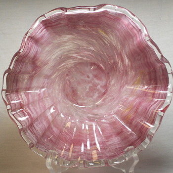 "Swirly White//Pink Scalloped Murano Bowl""XX Century"""
