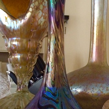 "Rindskopf Corrugated Purple/Green Iridescent Vase 9.75"" - Art Glass"
